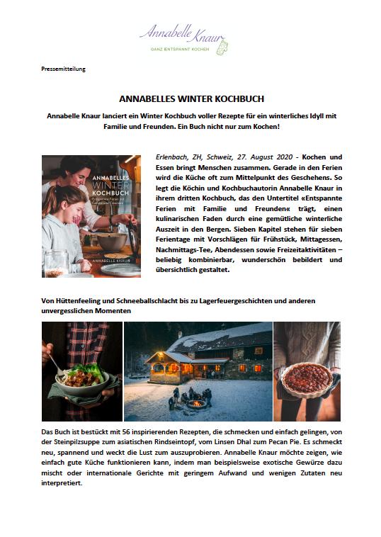 Pressemitteilung Annabelle's Winter Kochbuch